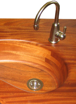 wood bar sinks, integrated wood sinks, wood countertop with wood sink