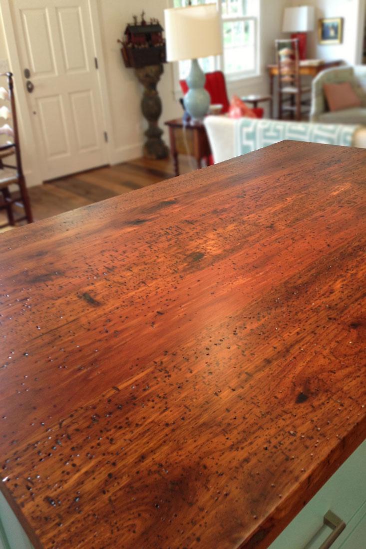 Salvaged Douglas Fir Lumber Wormy Ernut Island Countertop Distressed