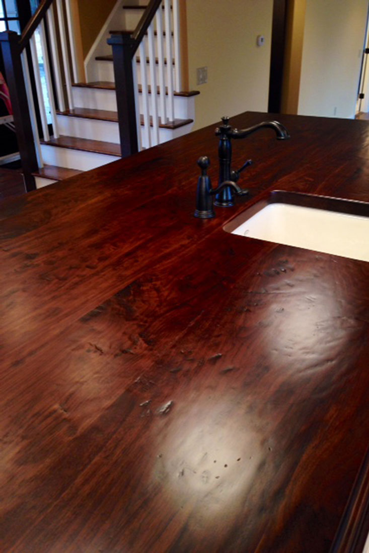 Salvaged Douglas Fir Wormy Ernut Barnboard Walnut Distressed Hand Planed Curly Maple Island Countertop